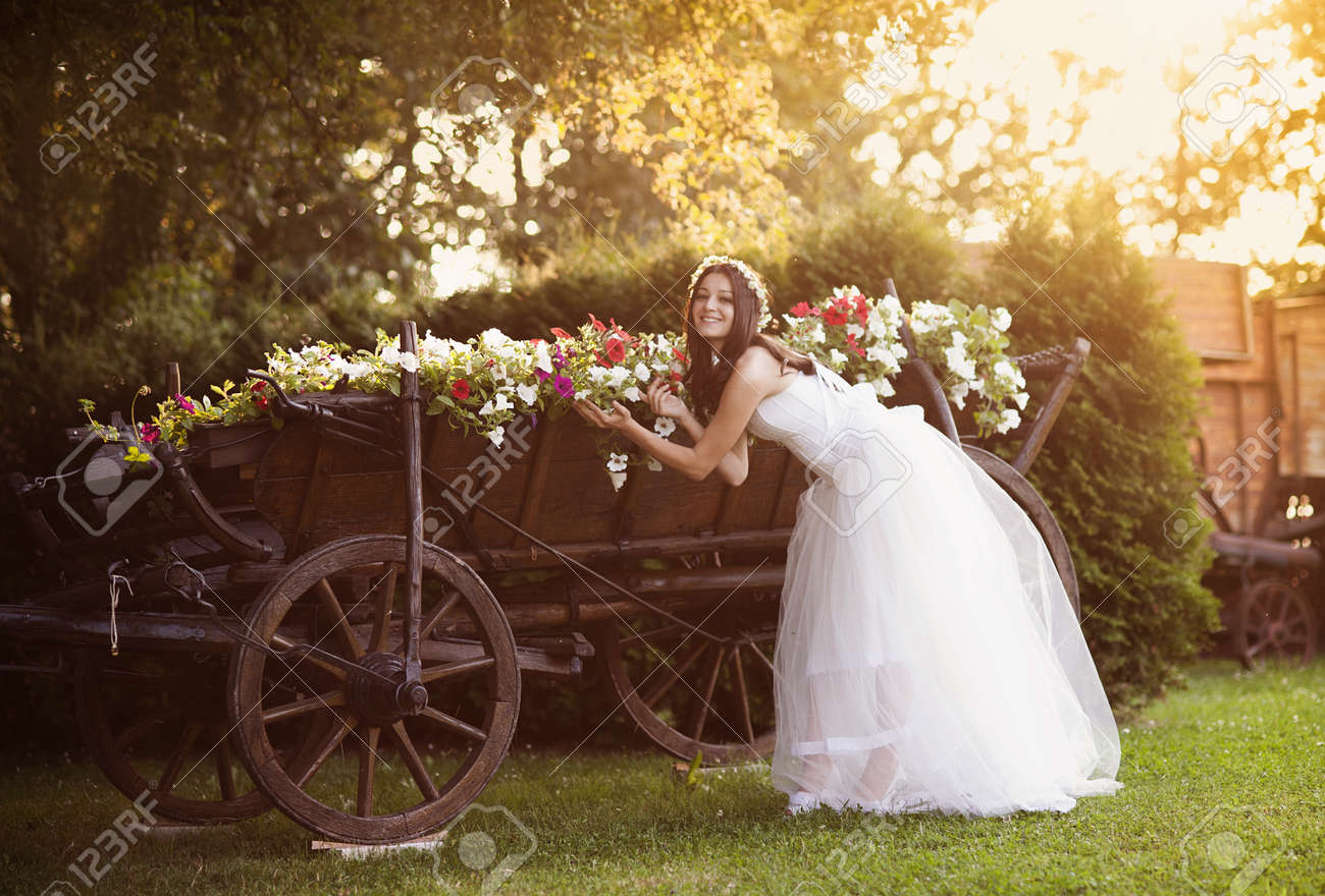 Beautiful Bride In Country Style Wedding Dress Stock Photo, Picture ...