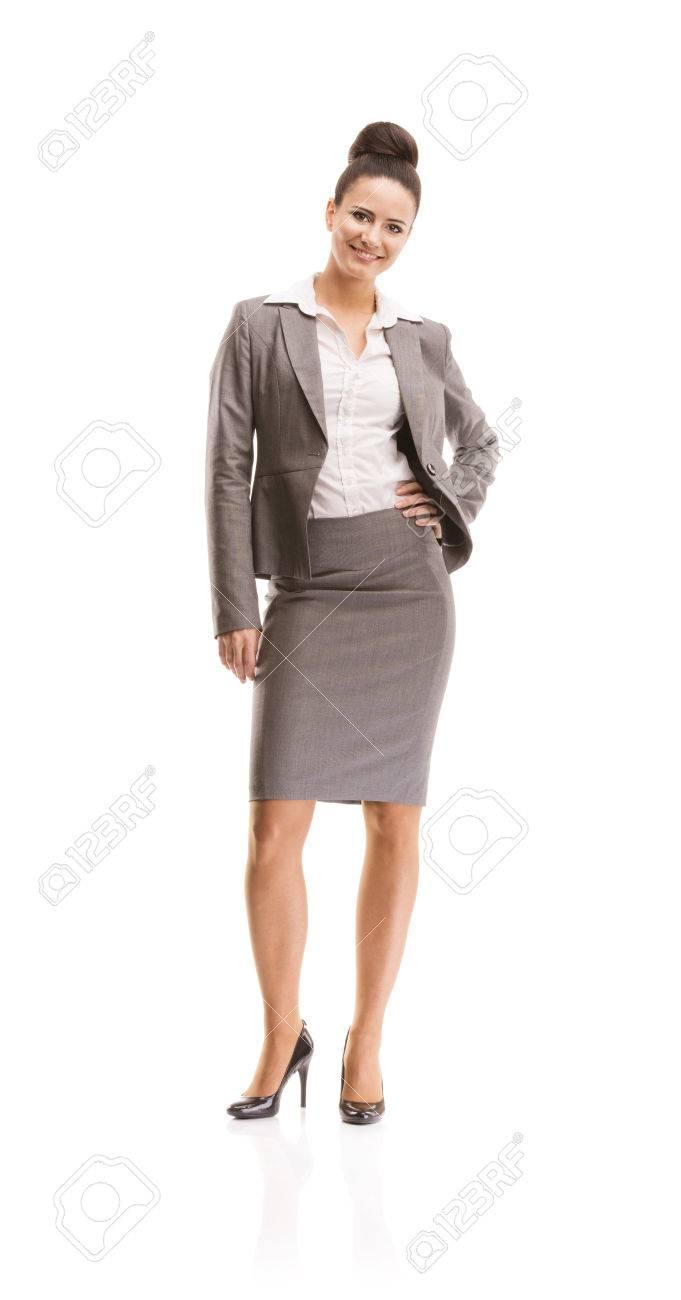 vrouw in pak