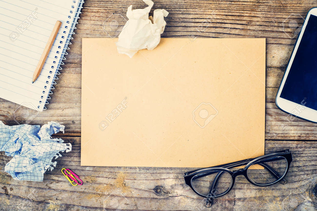 Background image table - Desktop Mix On A Wooden Office Table Background View From Above Stock Photo