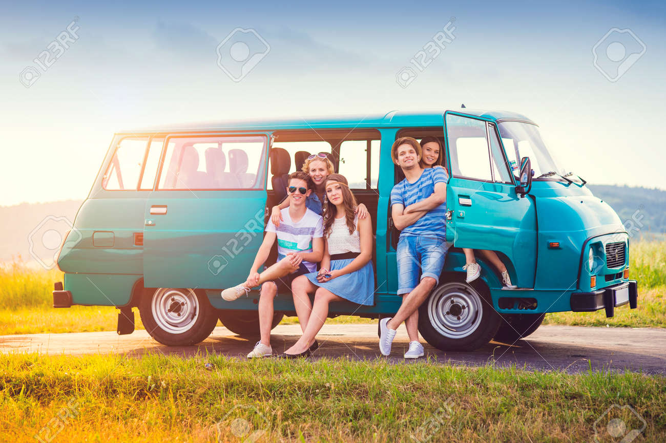 Young Hipster Friends On Road Trip On A Summer Day Stock Photo Picture And Royalty Free Image Image 44726993