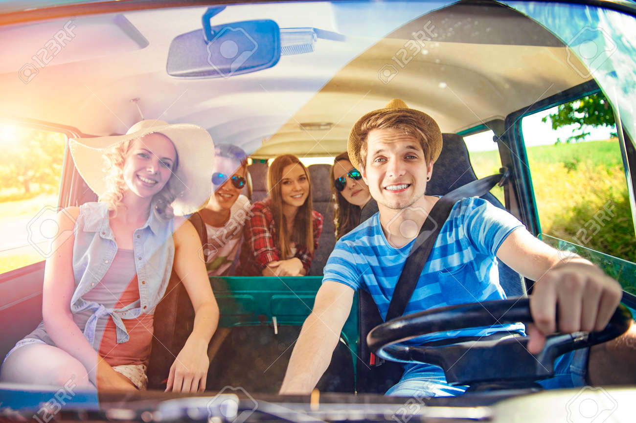 Young Hipster Friends On Road Trip On A Summers Day Stock Photo Picture And Royalty Free Image Image 46412568