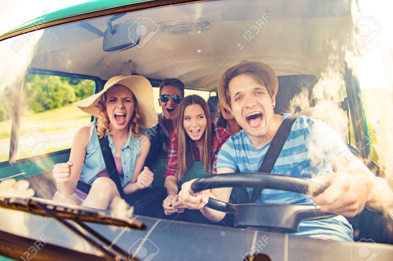 Young Hipster Friends On Road Trip On A Summers Day Stock Photo Picture And Royalty Free Image Image 46415035