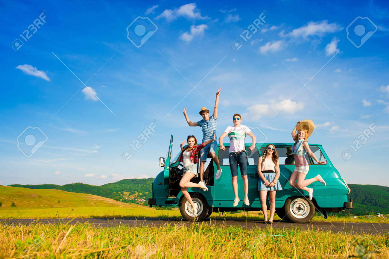 Young hipster friends on road trip on a summers day Stock Photo - 46415072