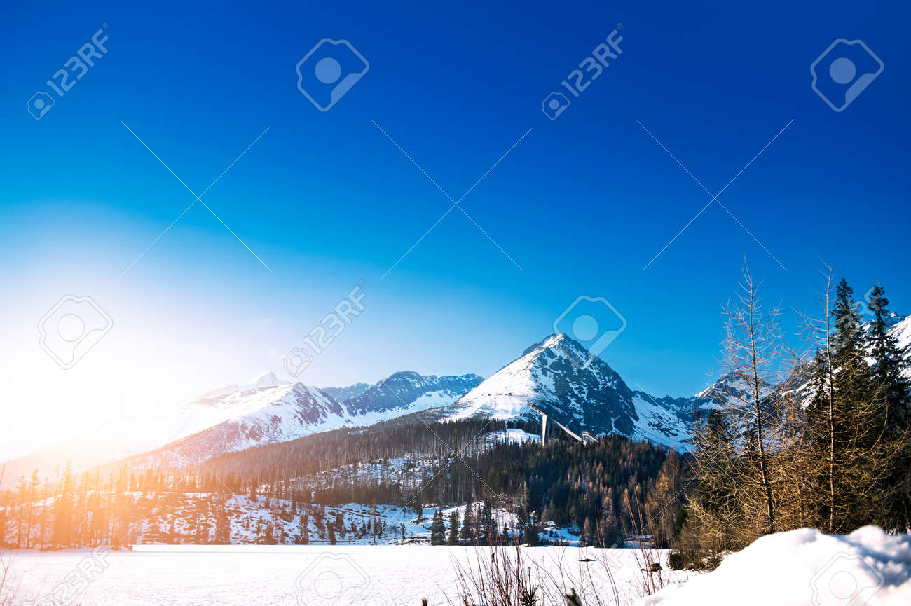 Beautiful Winter Mountain Landscape With Sun High Tatras Slovakia Stock Photo Picture And Royalty Free Image Image 46625149