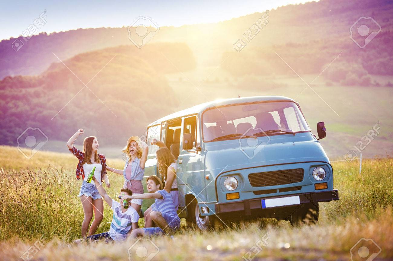 Young Hipster Friends On Road Trip On A Summer Day Stock Photo Picture And Royalty Free Image Image 46807563