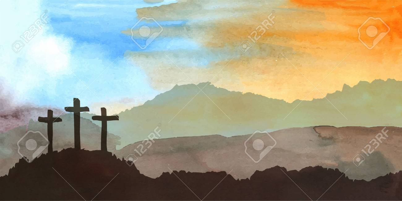 Watercolor vector illustration. Hand drawn Easter scene with cross. Jesus Christ. Crucifixion. - 52163047