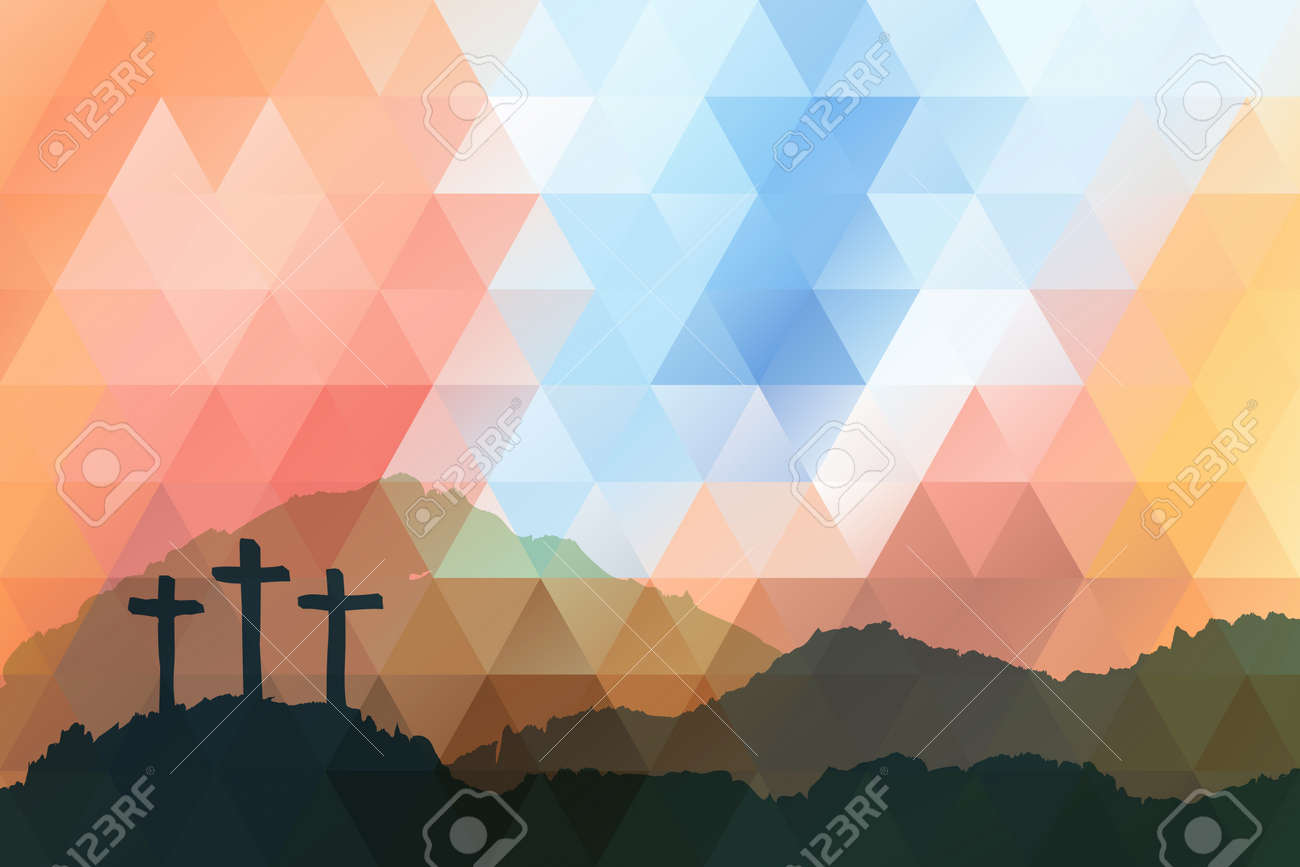 Polygonal vector design. Hand drawn Easter scene with cross. Jesus Christ. Crucifixion. Vector watercolor illustration. - 52162978