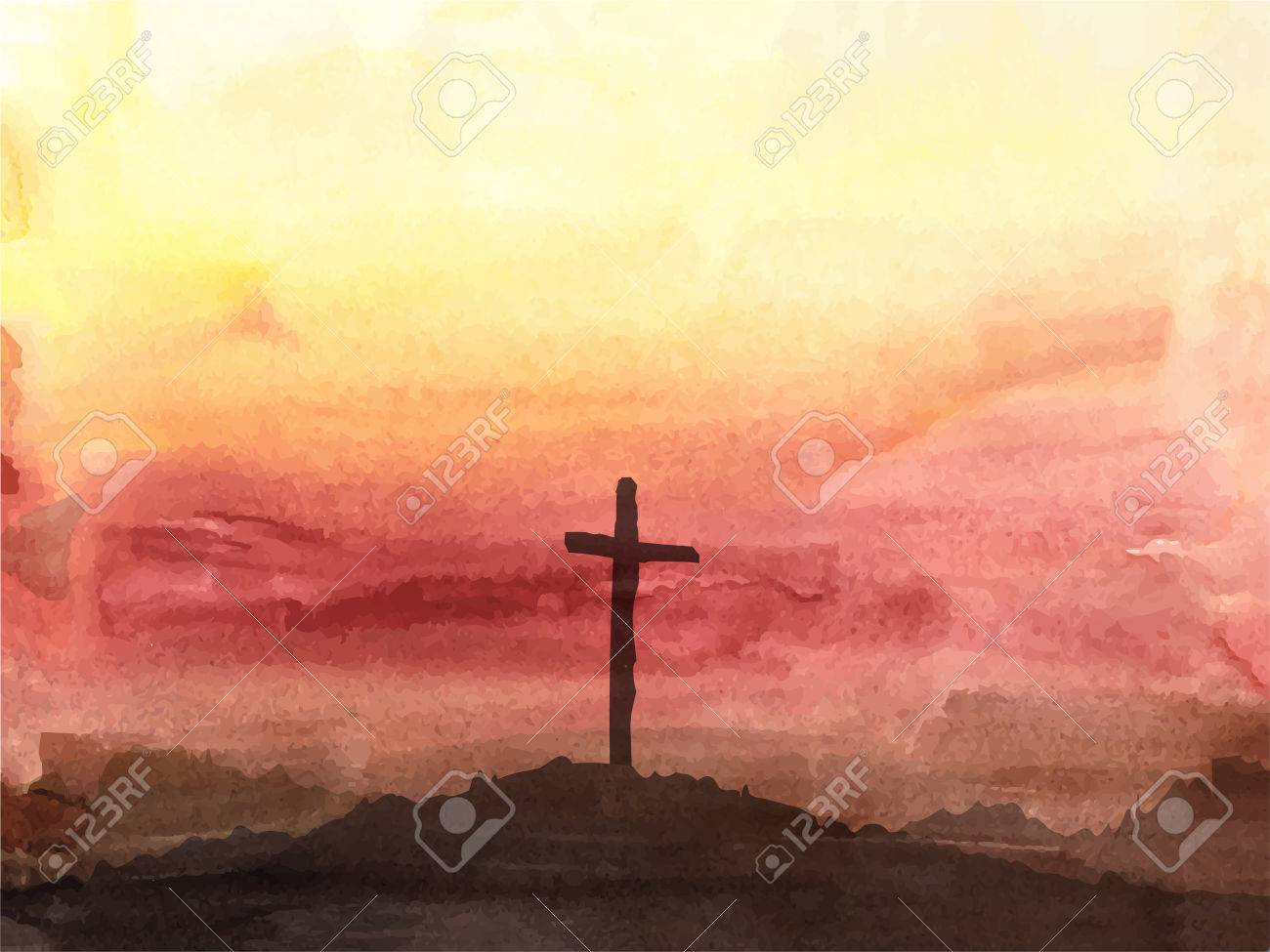 Watercolor vector illustration. Hand drawn Easter scene with cross. Jesus Christ. Crucifixion. - 52163065