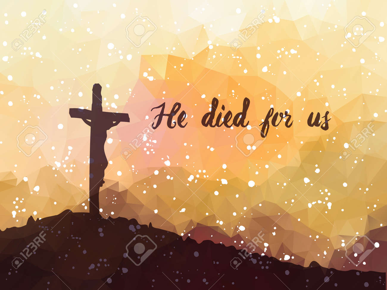 Watercolor vector illustration. Hand drawn Easter scene with cross. Jesus Christ. Crucifixion. - 53143146