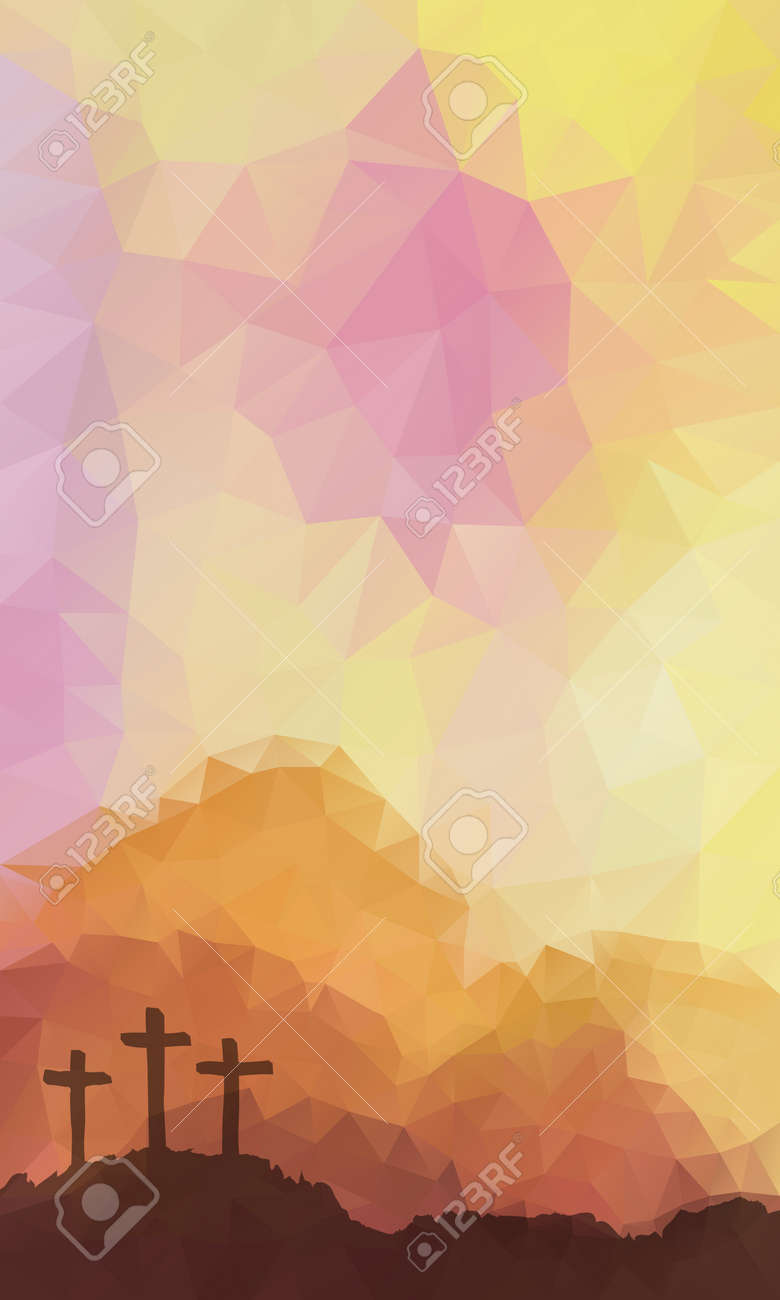 Polygonal vector design. Hand drawn Easter scene with cross. Jesus Christ. Crucifixion. Vector watercolor illustration. - 53143114