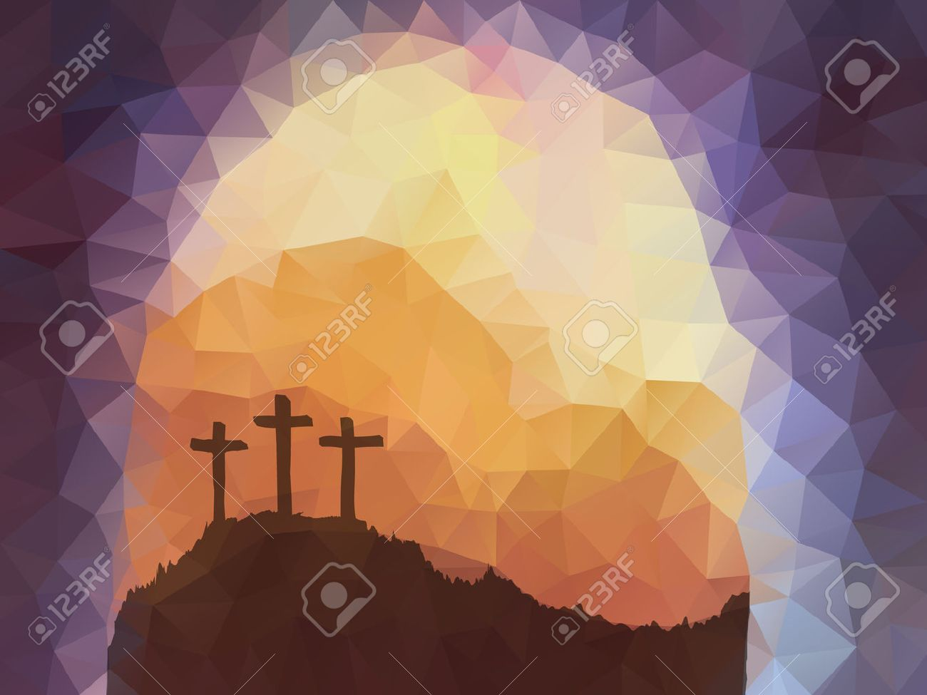 Polygonal vector design. Hand drawn Easter scene with cross. Jesus Christ. Crucifixion. Vector watercolor illustration. - 53143233