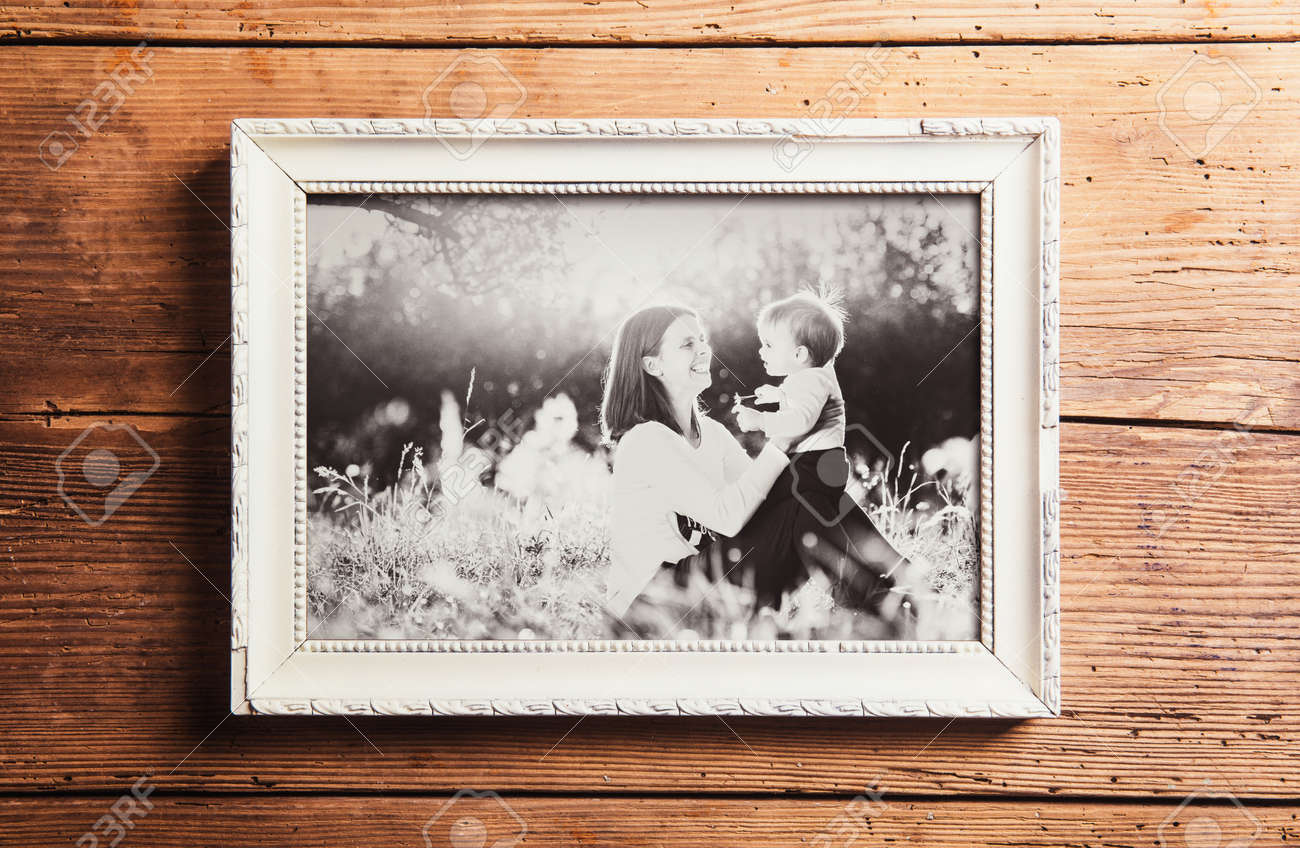 Mothers Day Composition Photo Of Mother And Son In Picture Frame