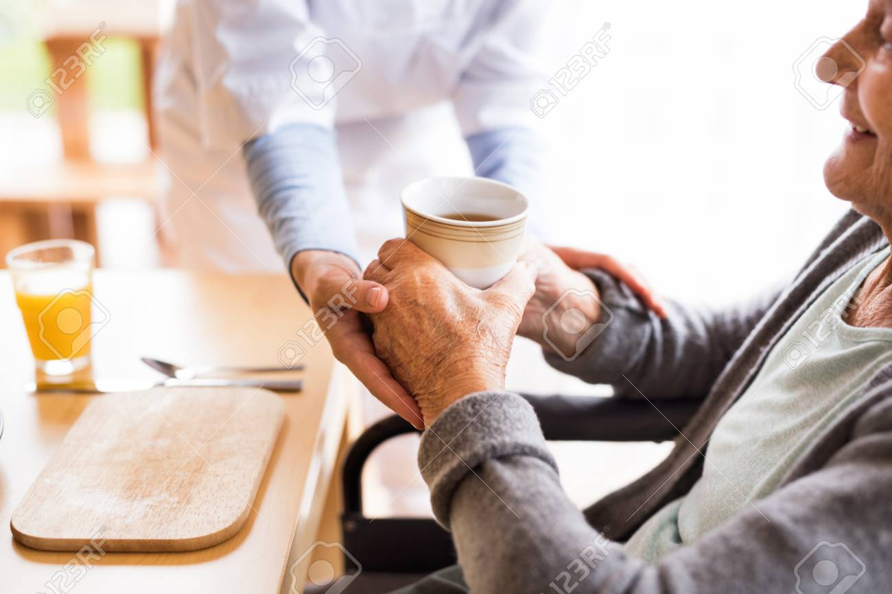 Unrecognizable health visitor and a senior woman during home vis - 88089803