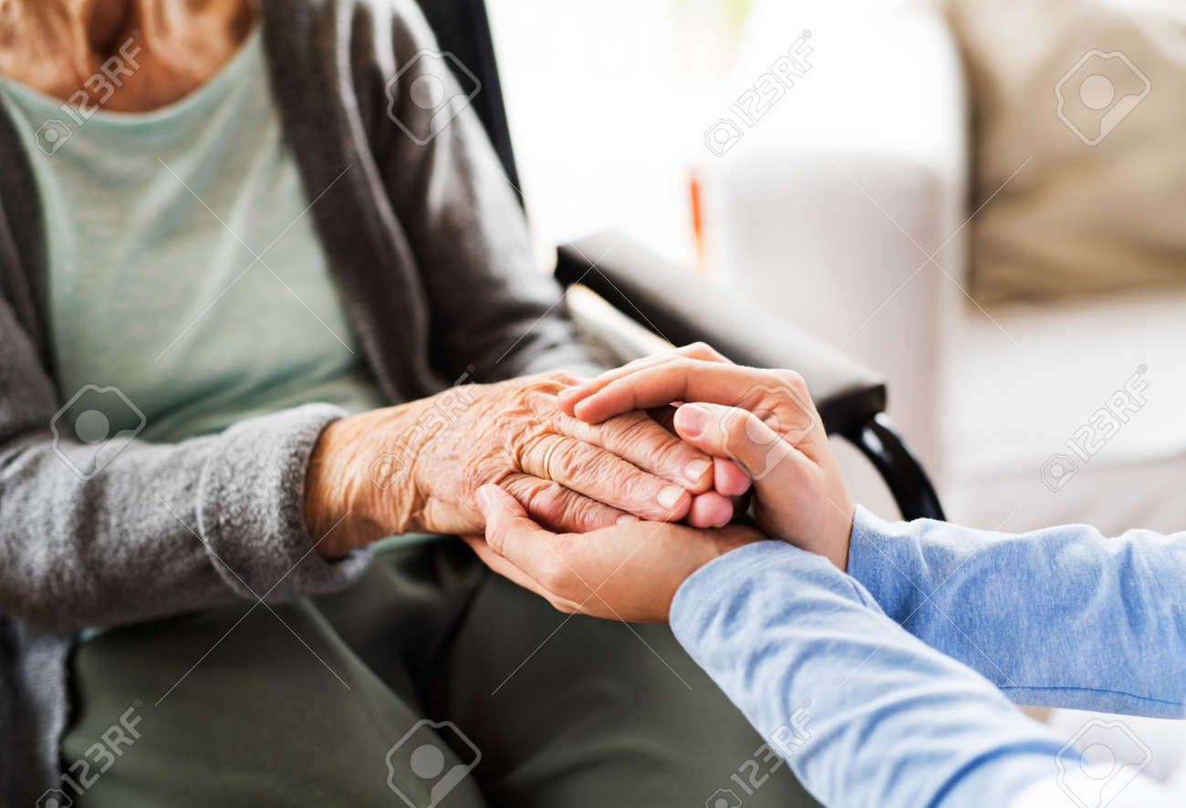 Unrecognizable health visitor and a senior woman during home vis - 88338399