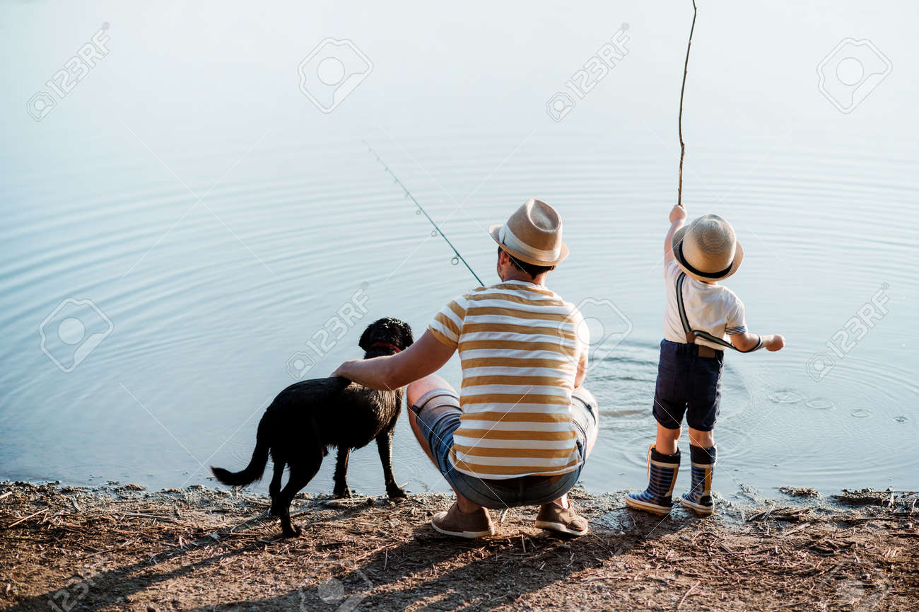 A rear view of father with a small toddler son and dog outdoors fishing by a lake. - 119431700