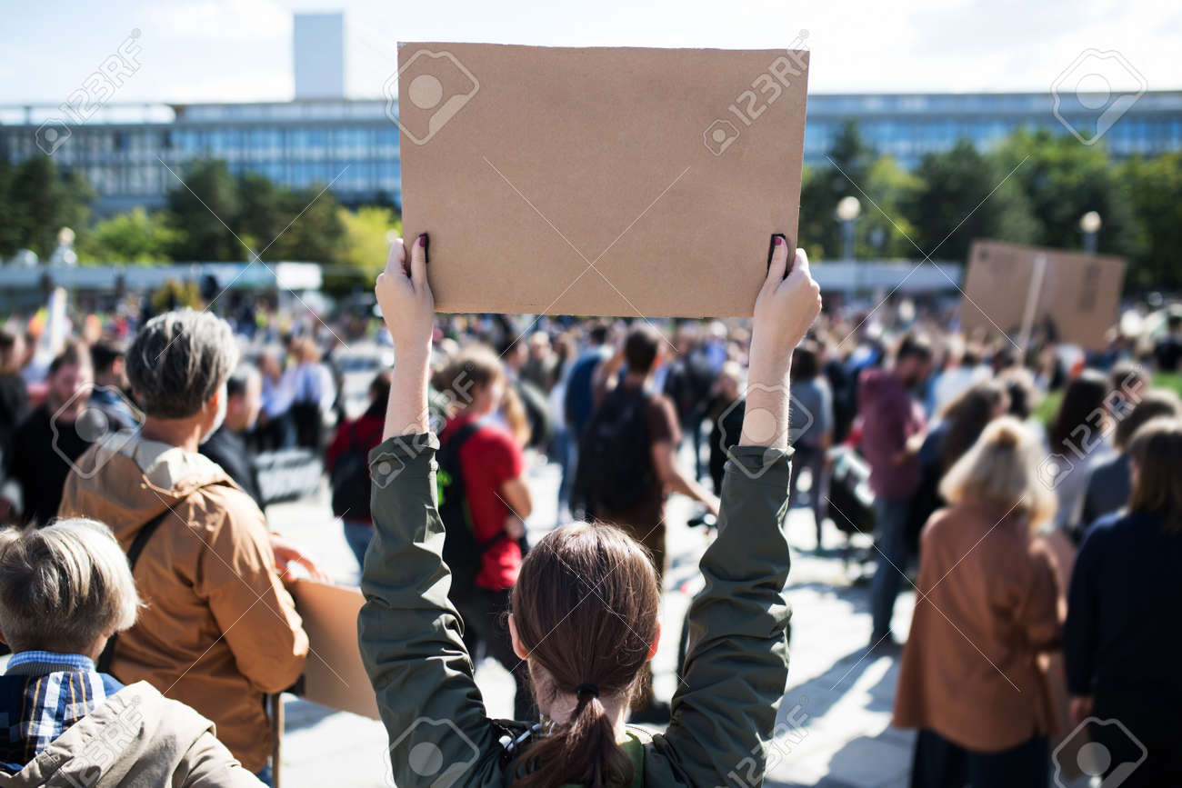 Rear view of people with placards and posters on global strike for climate change. - 133721643