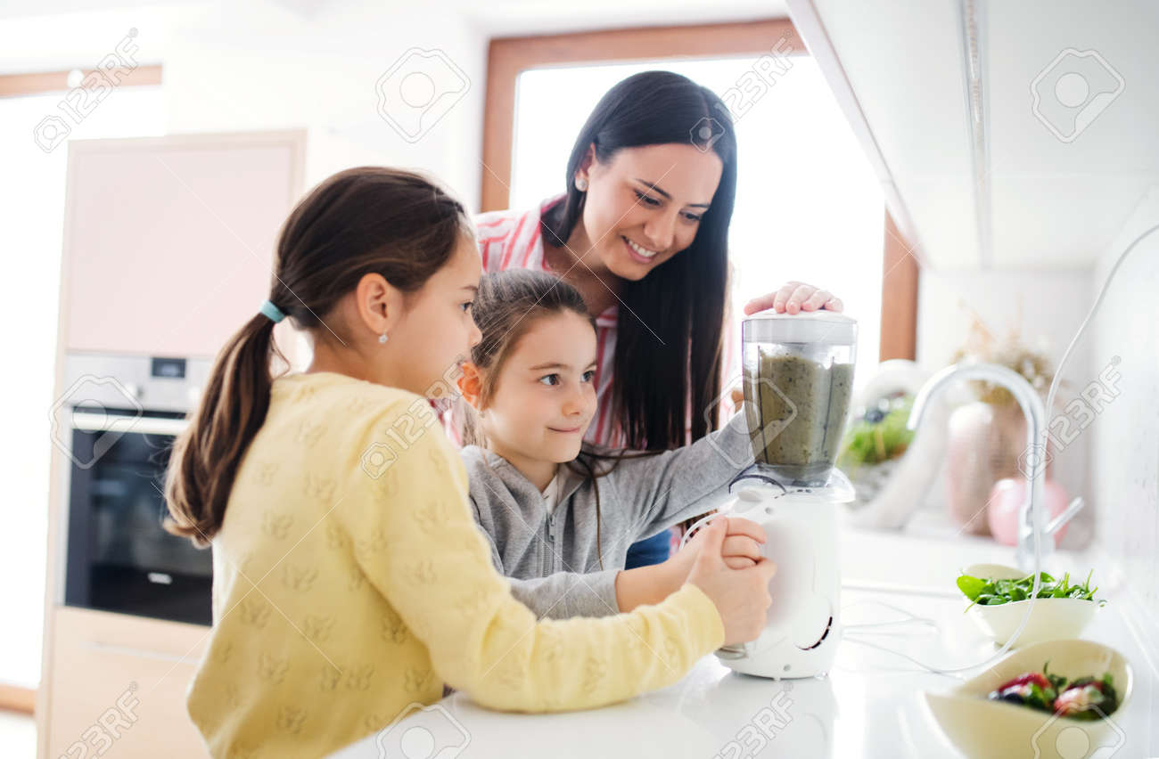 Mother with girls indoors at home, preparing fruit smoothie drink. - 167093482