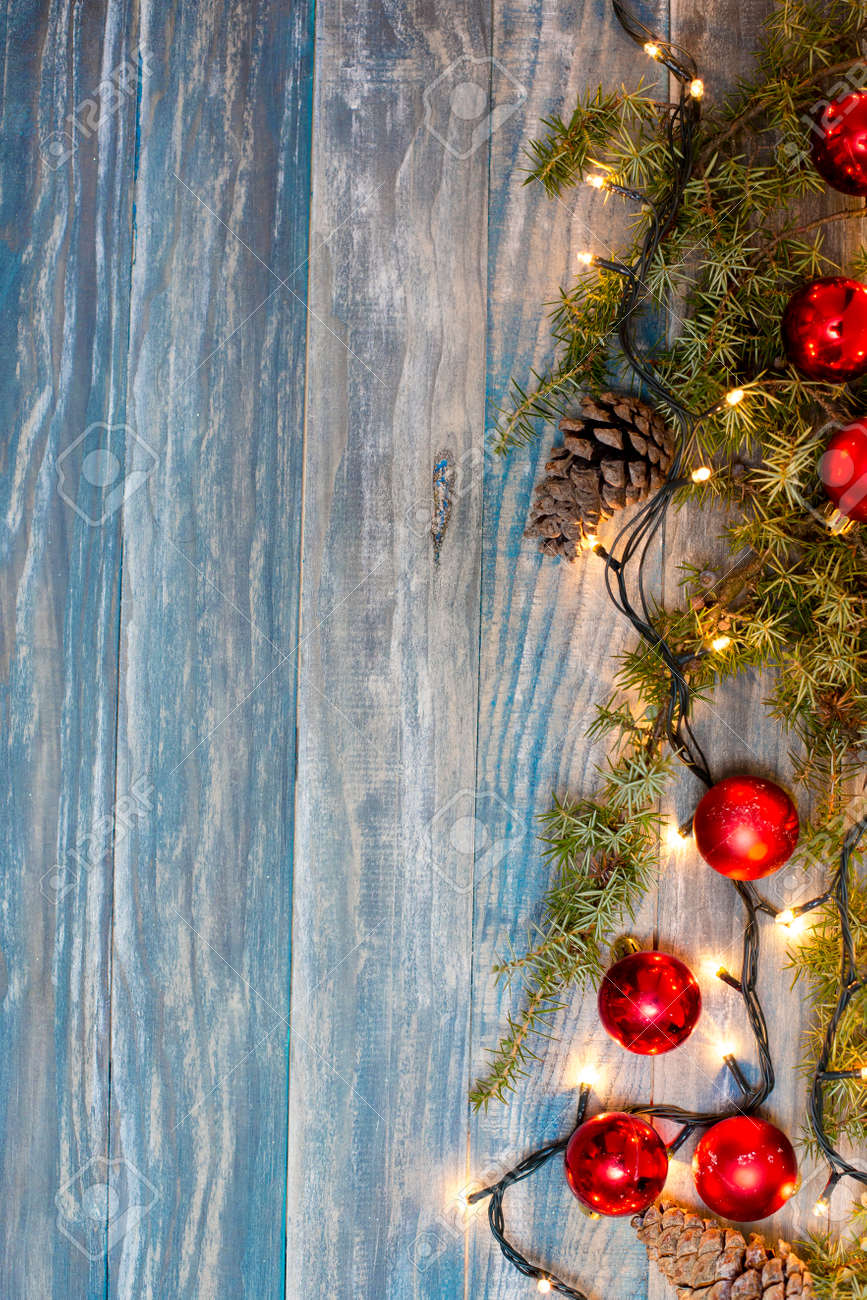 Christmas Background Planked Wood With Lights And Free Text Space Stock Photo