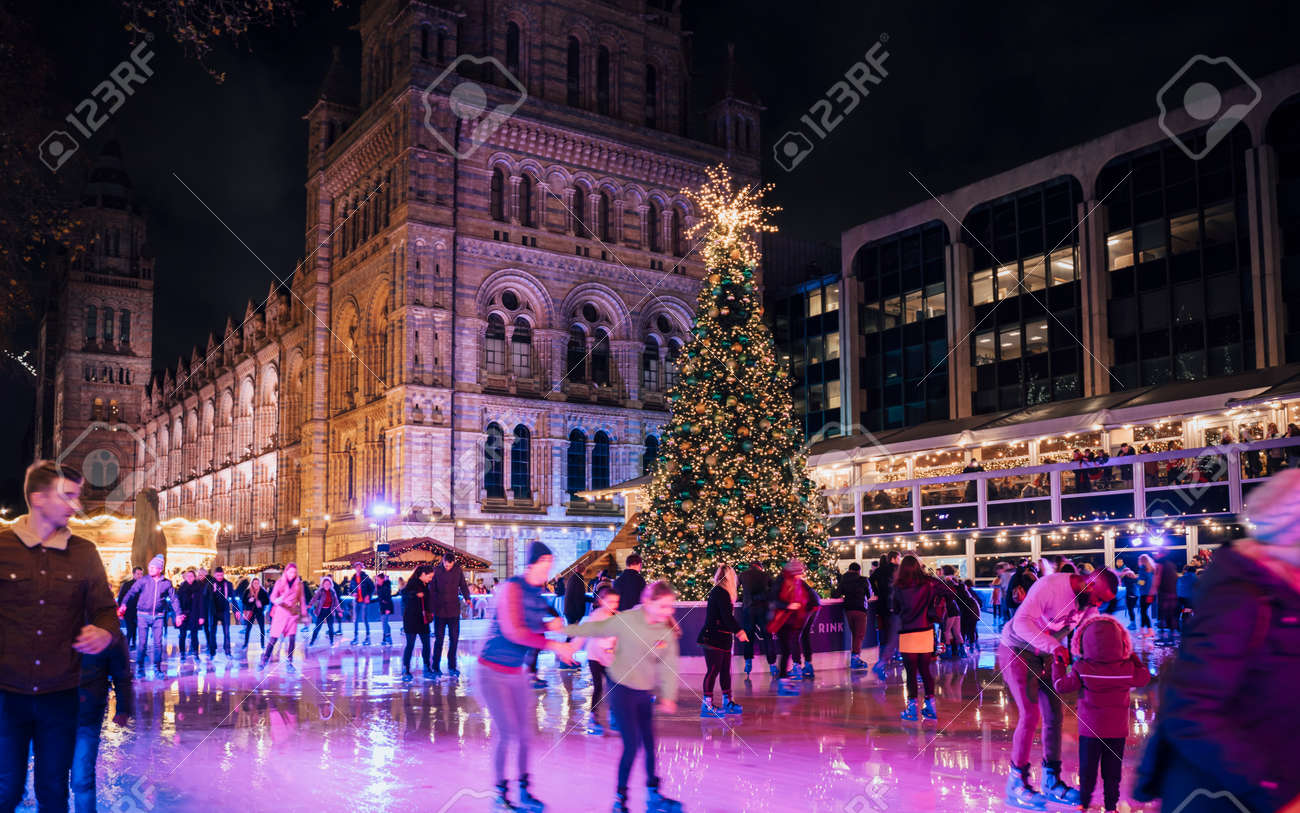 Christmas Ice Skating London.London United Kingdon Deceber 2 2018 Christmas Tree And Ice