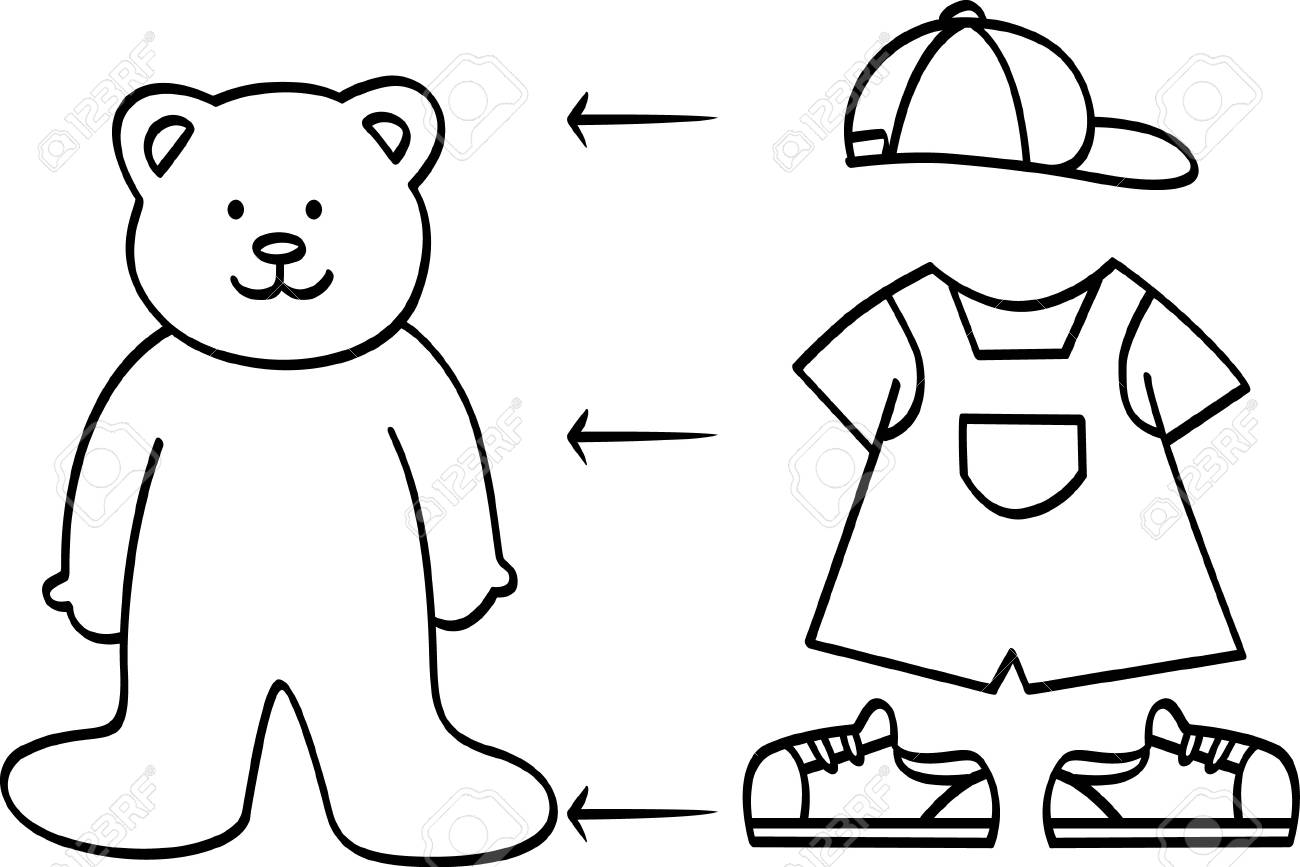 Coloriage Ours Mignon Avec La Collection De Vetements Clip Art