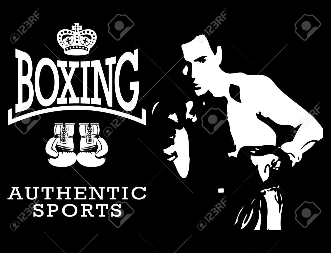 Boxing World Champion Labels and Icons Stock Vector - 19003659