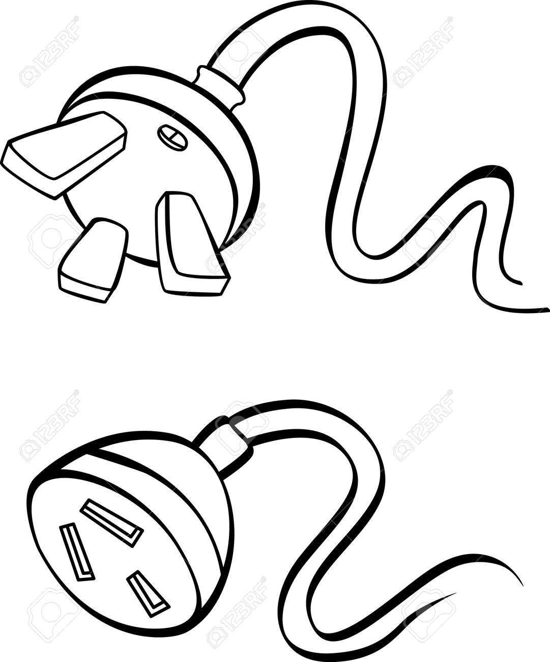 Power Plug Drawing Electric Power Cable With Plug