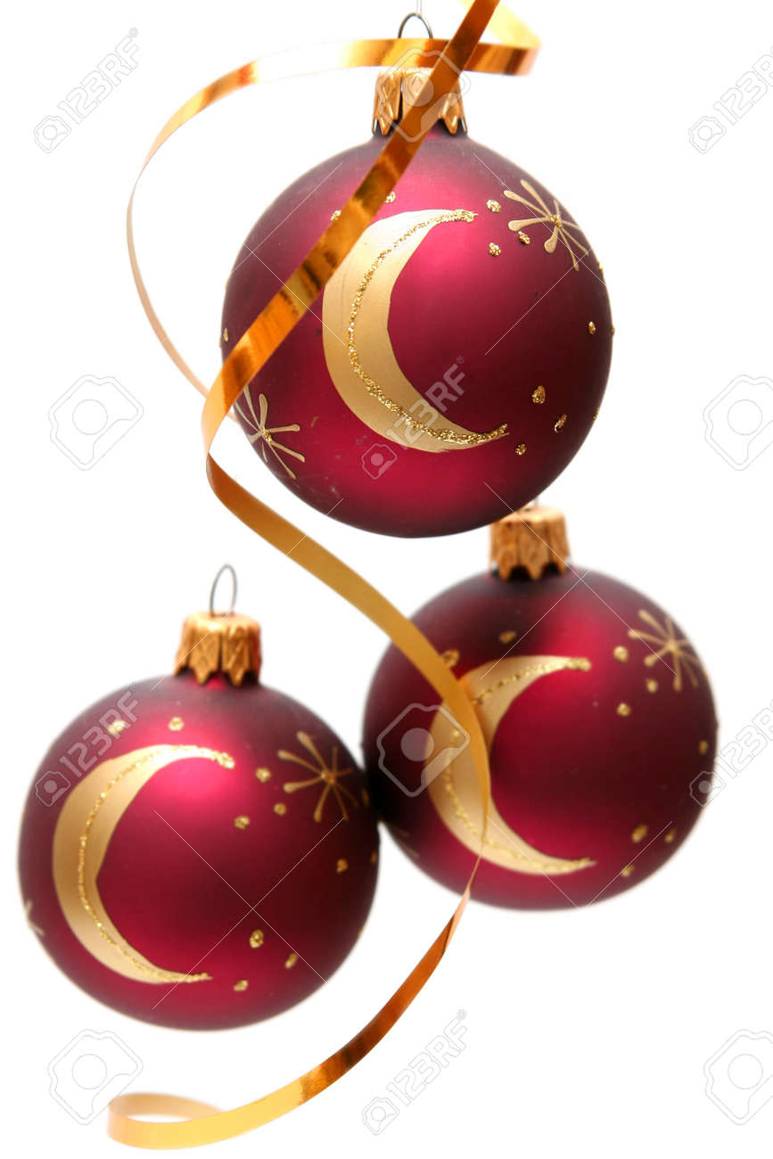Red decorated christmas bulbs on a white background Stock Photo - 666231