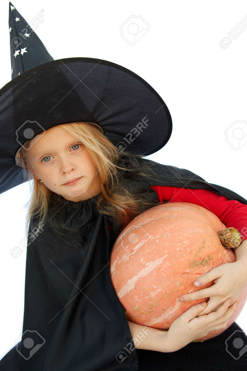 Young blond girl dresses in hallowwen witch costume. Stock Photo - 1921892