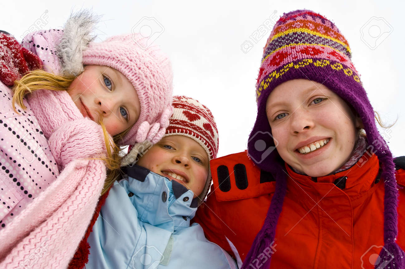 Children playing on the snow Stock Photo - 14674551