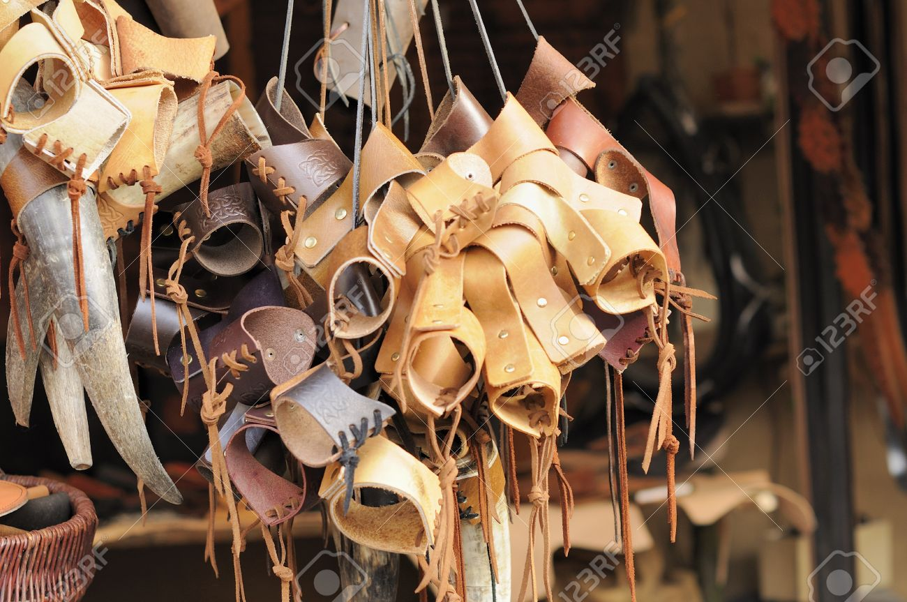 leather stall at medieval market, esslingen Stock Photo - 11572987