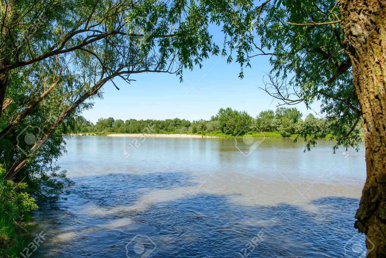 PO River Near Valmacca Piedmont Italy River Landscape With - Po river