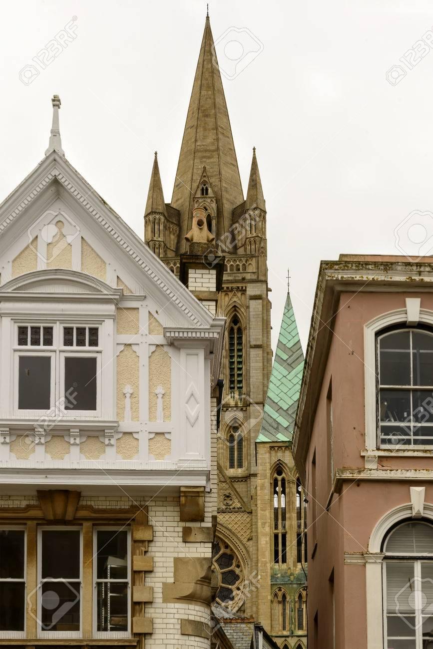 Verkurzung Der Alten Stadt In Cornwall Mit Alten Hausern Und Der