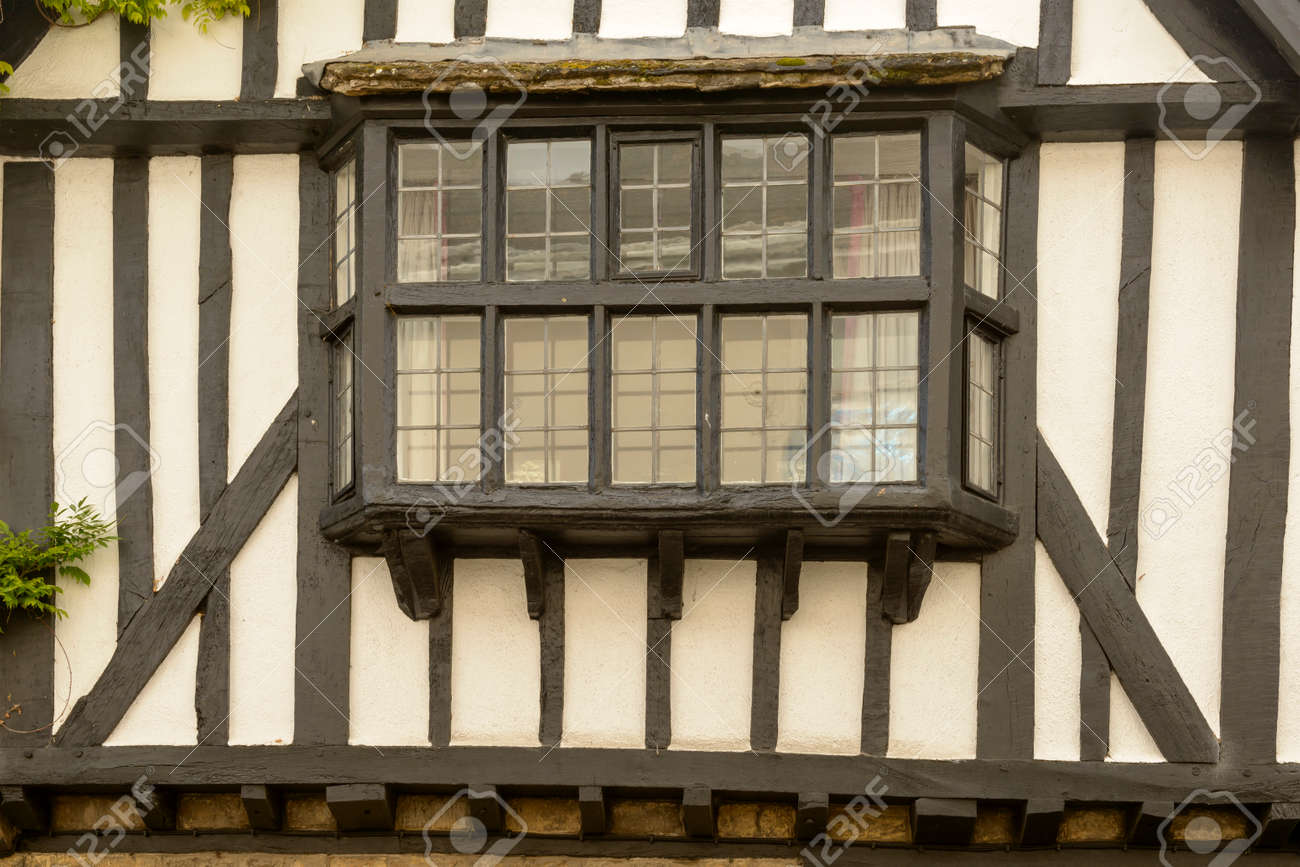 Bow Window On Wattle House, Sherborne, View Of Bow Window Of Old House Built