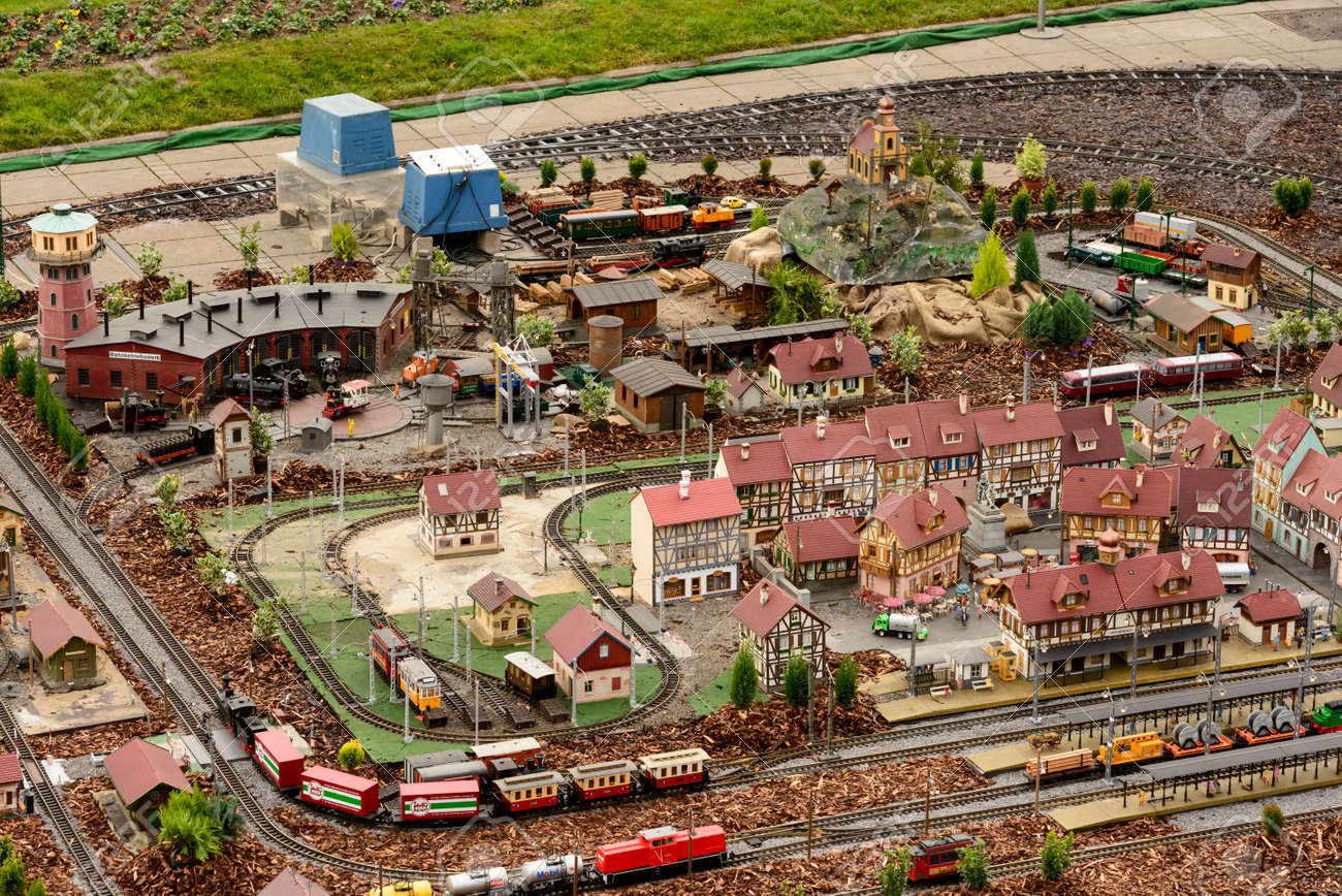 Christmas Model Railway.Aerial View Of Town With Toy Scale Model Railways At Christmas