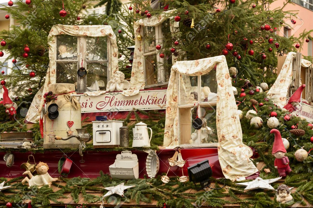 Christmas In Stuttgart Germany.Detail Of Objects Decorating To Stall Roof At Christmas Market