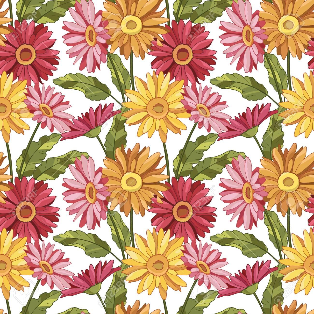 seamless pattern with gerbera flowers - 145148149