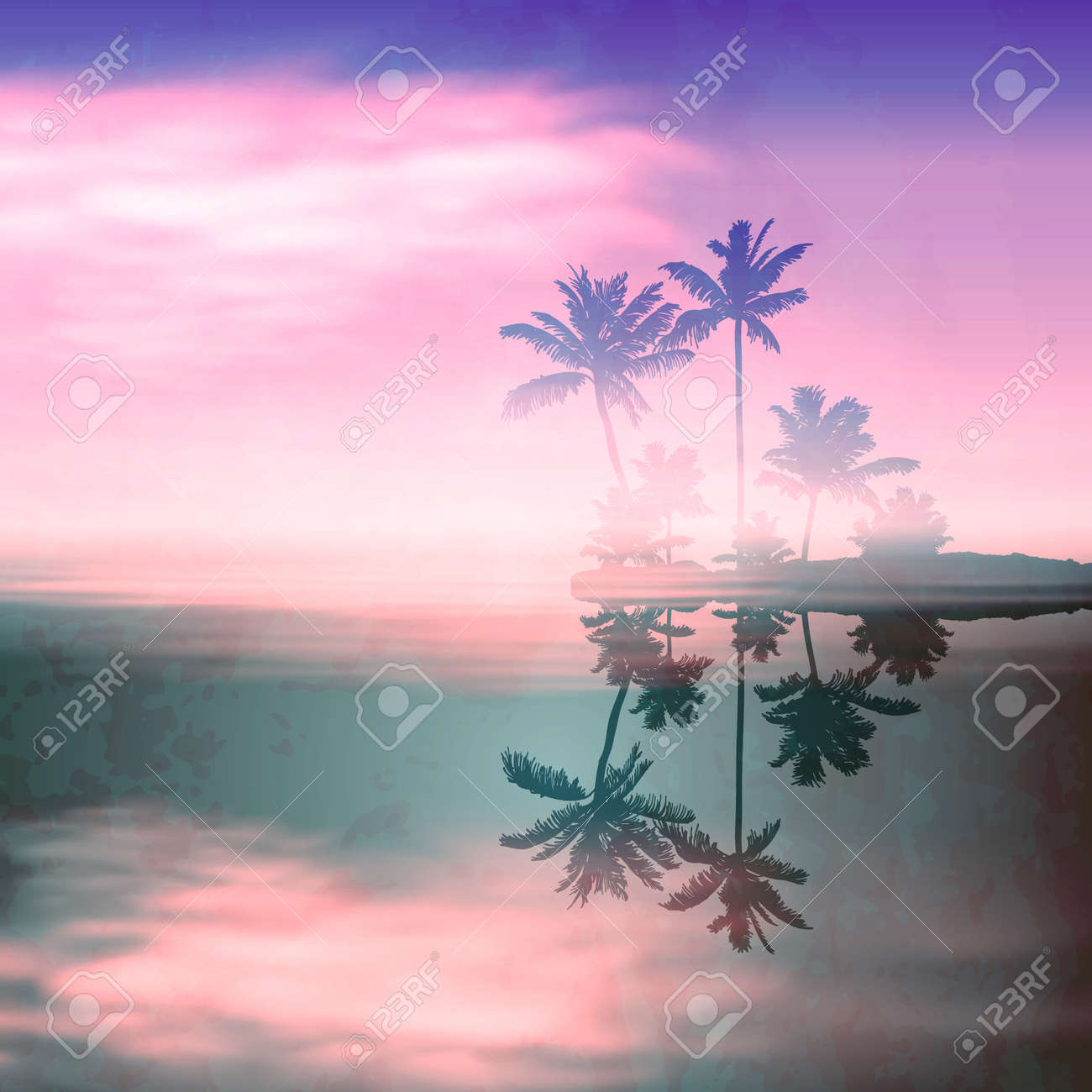 Sea sunset with island and palm trees. Retro style with old textured paper. - 29186040