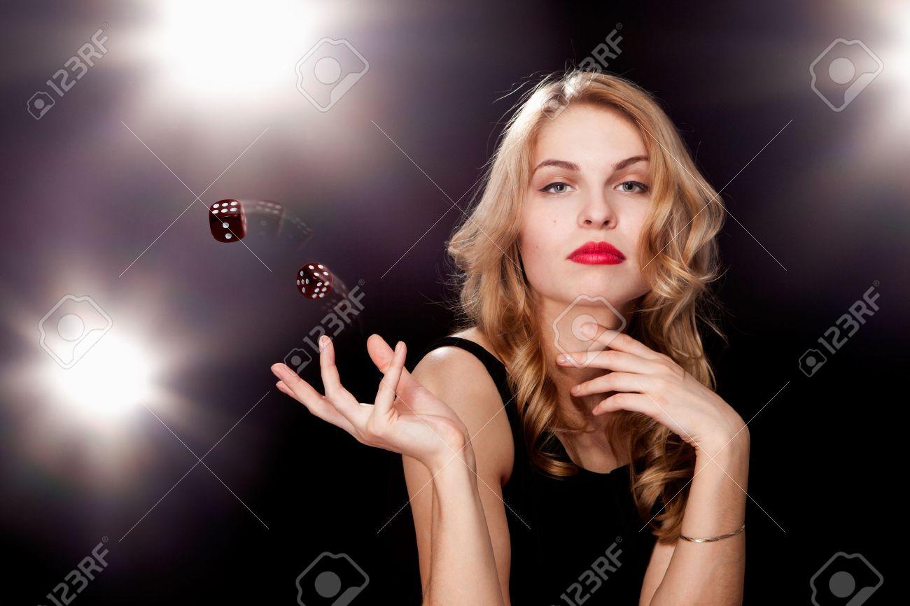 young girl playing in the gambling in casino - 29490015