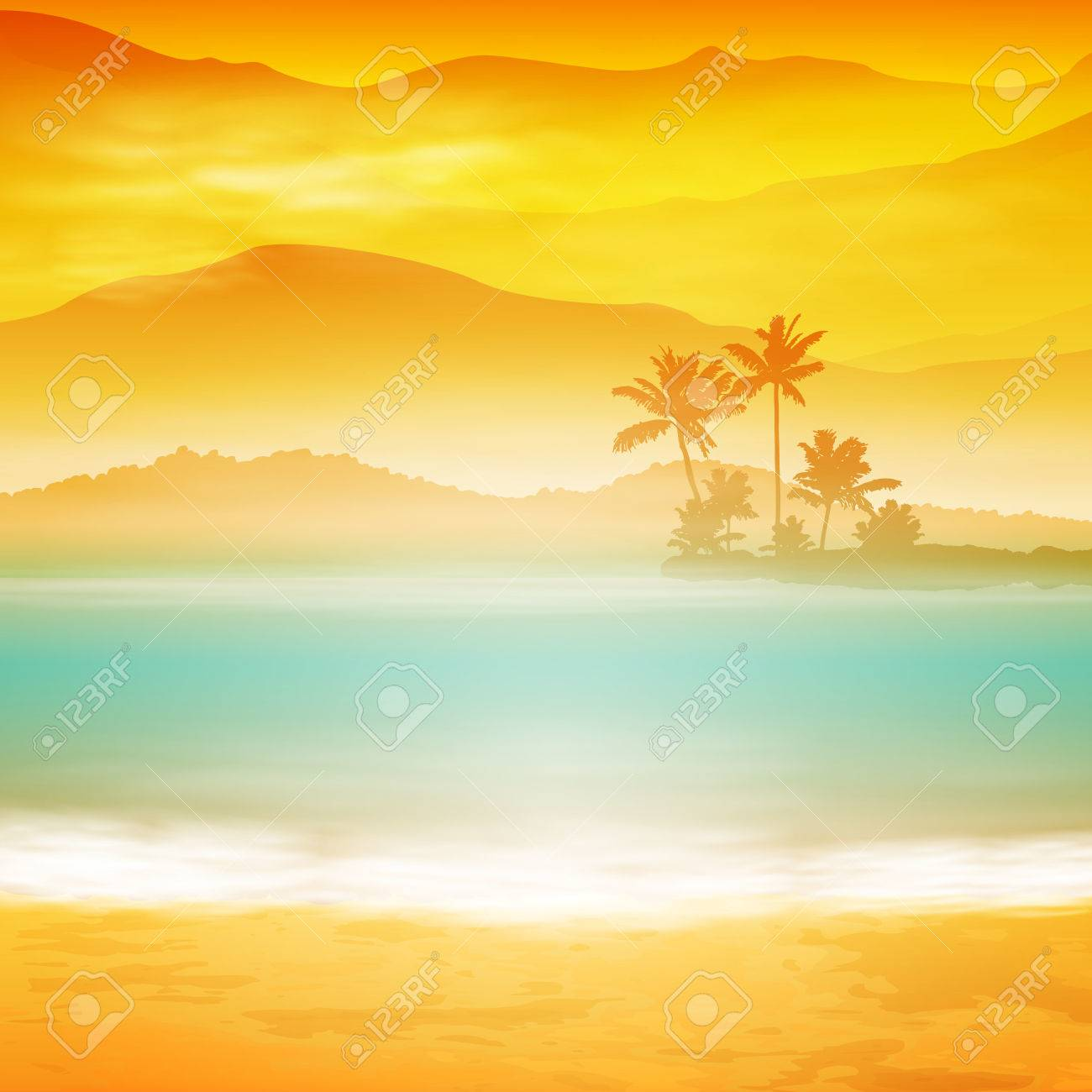 Background with sea and palm trees. Sunset time. - 31785704