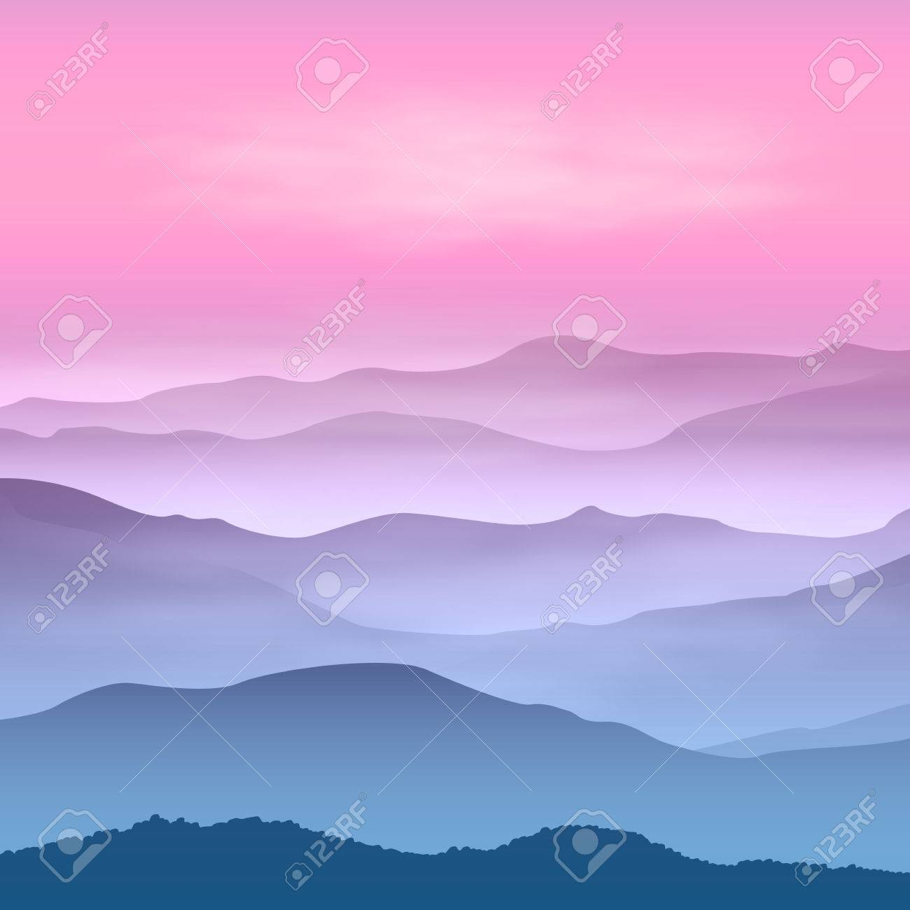 Background with mountains in the fog. Sunset time. - 31963633