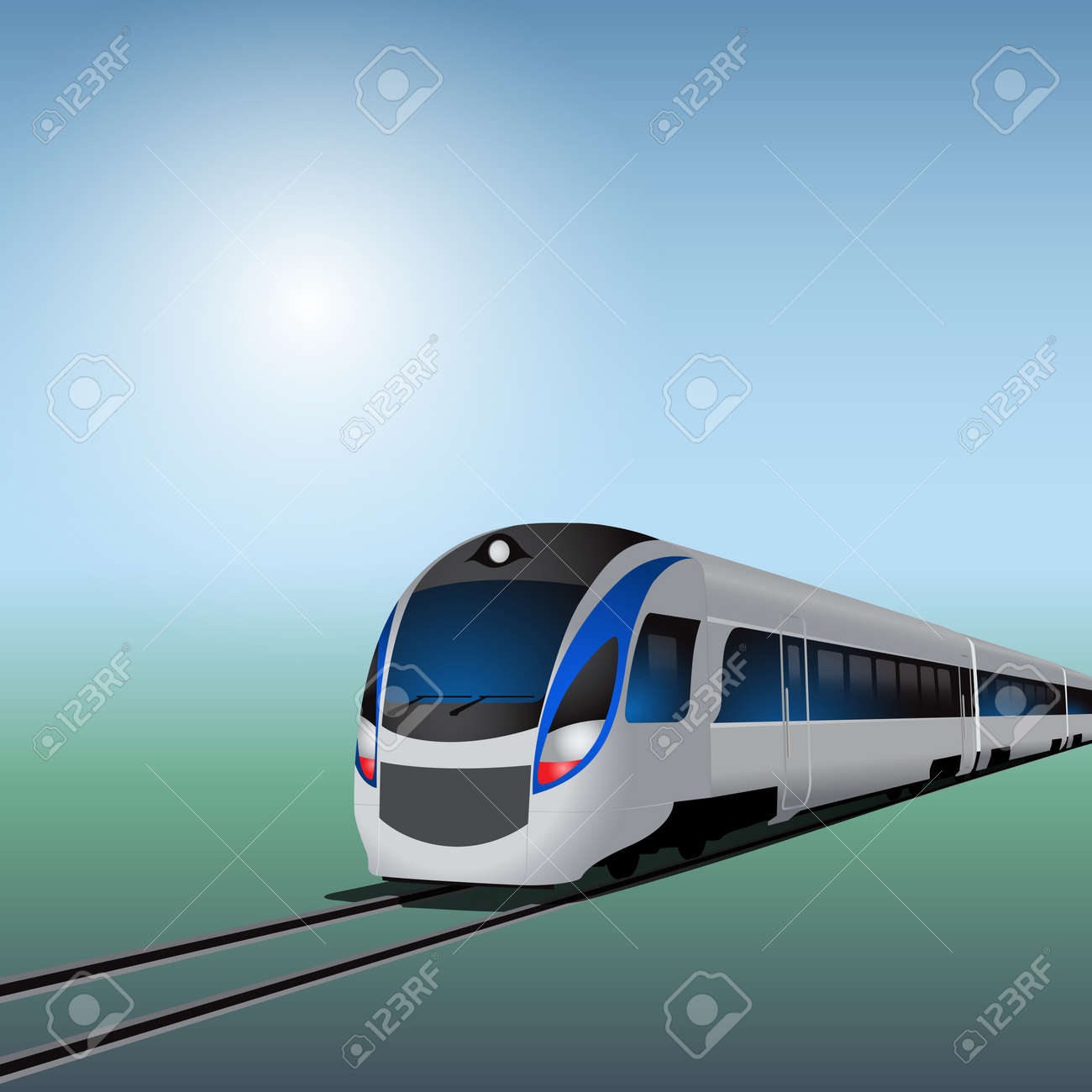 High-speed train at sunny day. EPS10 vector. - 37087076