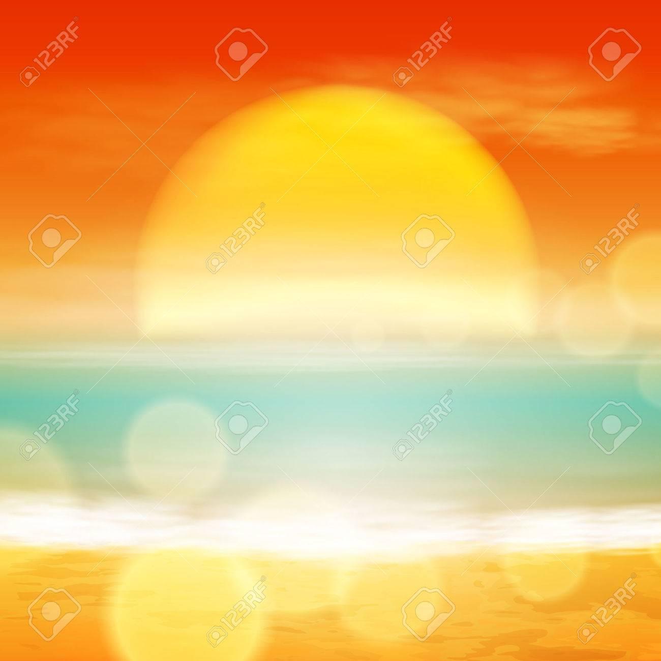 Sea sunset with the sun, light on lens. EPS10 vector. - 38847294