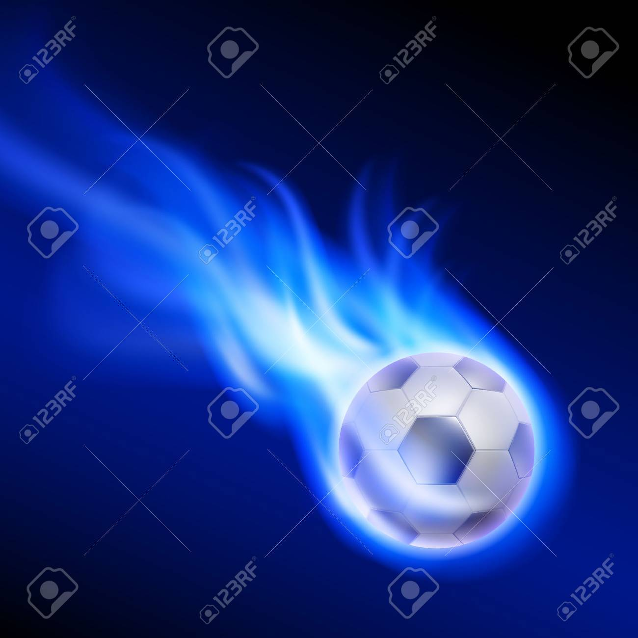 Burning football on blue fire. EPS10 vector. - 38858691