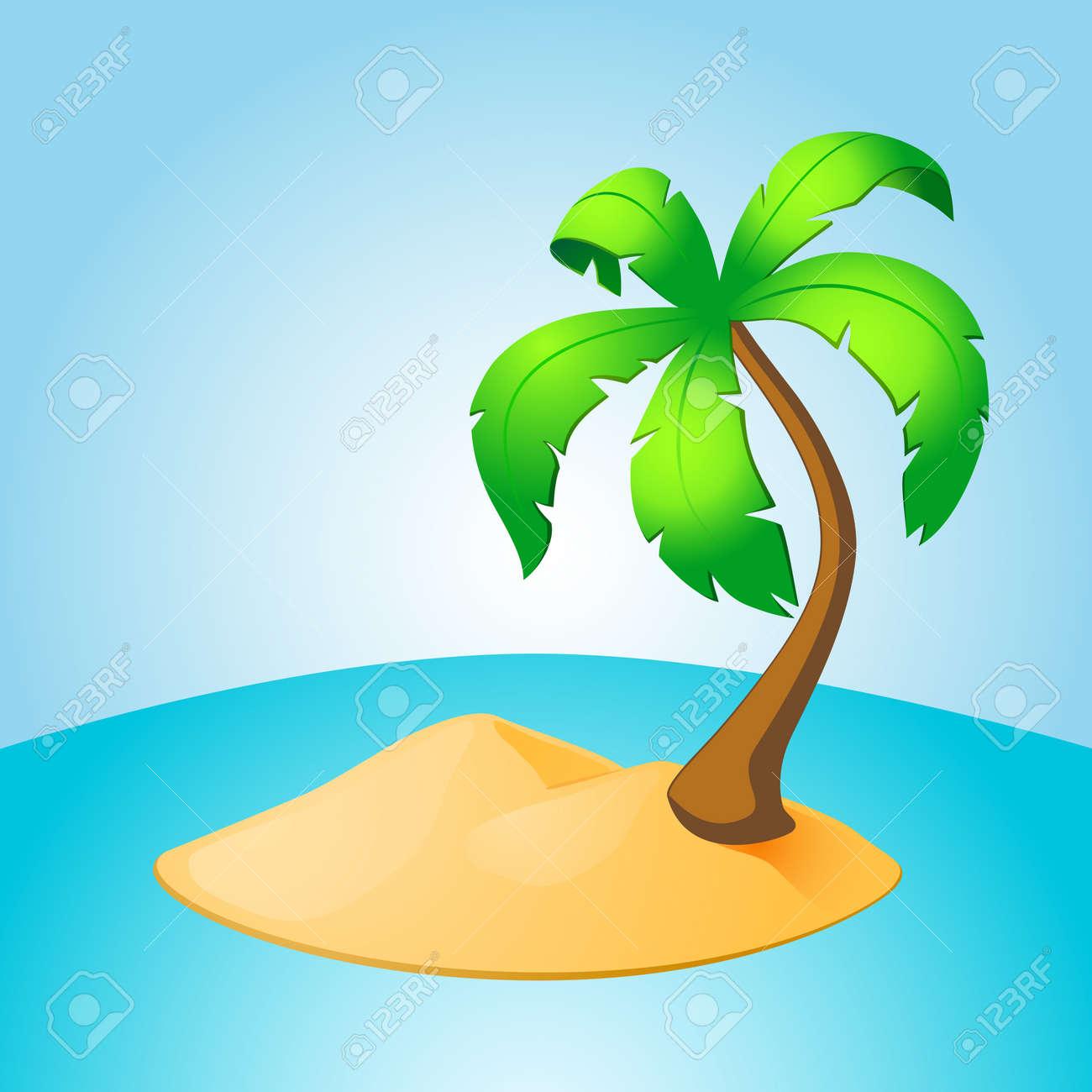 Palm tree island. EPS10 vector. - 38859681