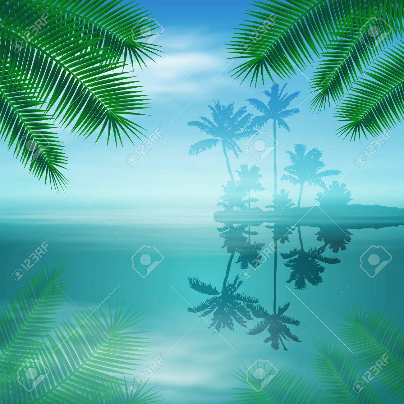 Sea with island and palm trees. - 40569495