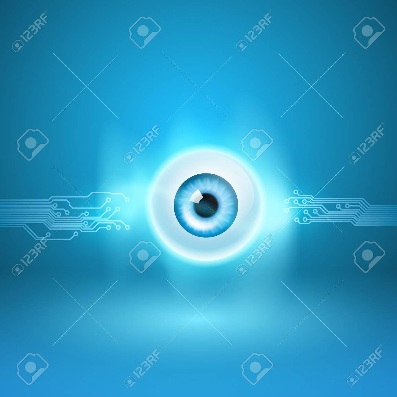 Abstract background with eye and circuit - 47170428
