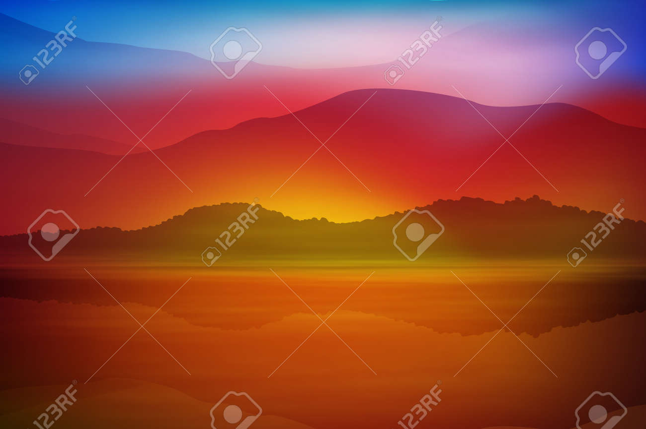 Background with sea and mountain. Sunset time. vector. - 60408030