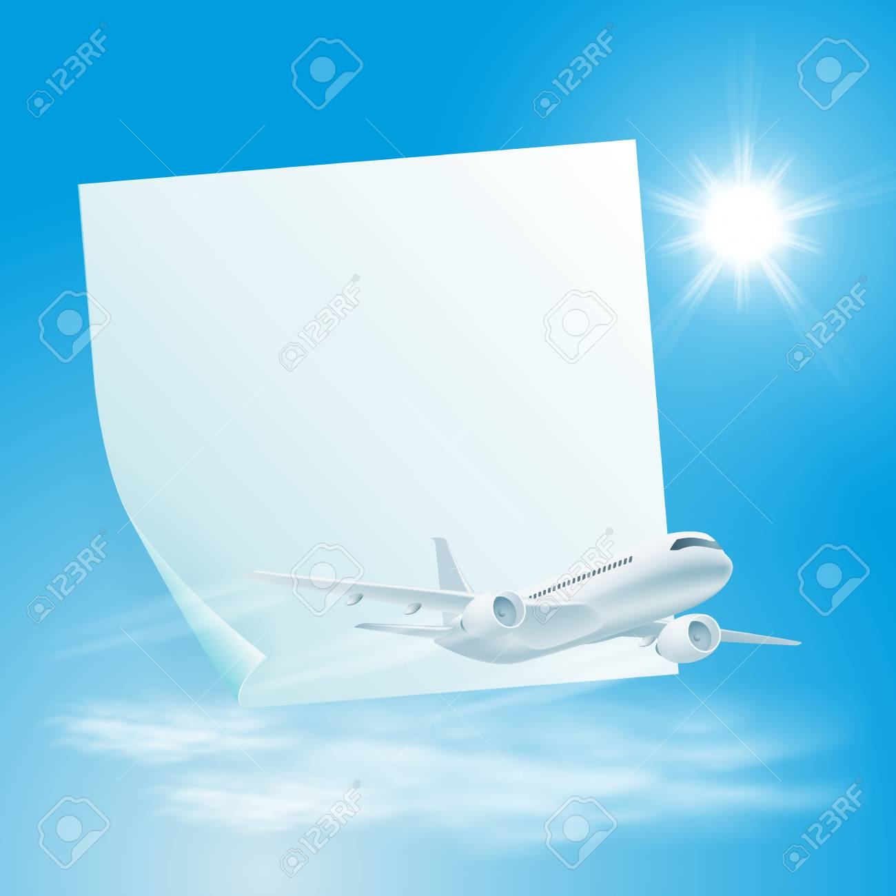 Illustration of airplane in the sky with sticker for your text