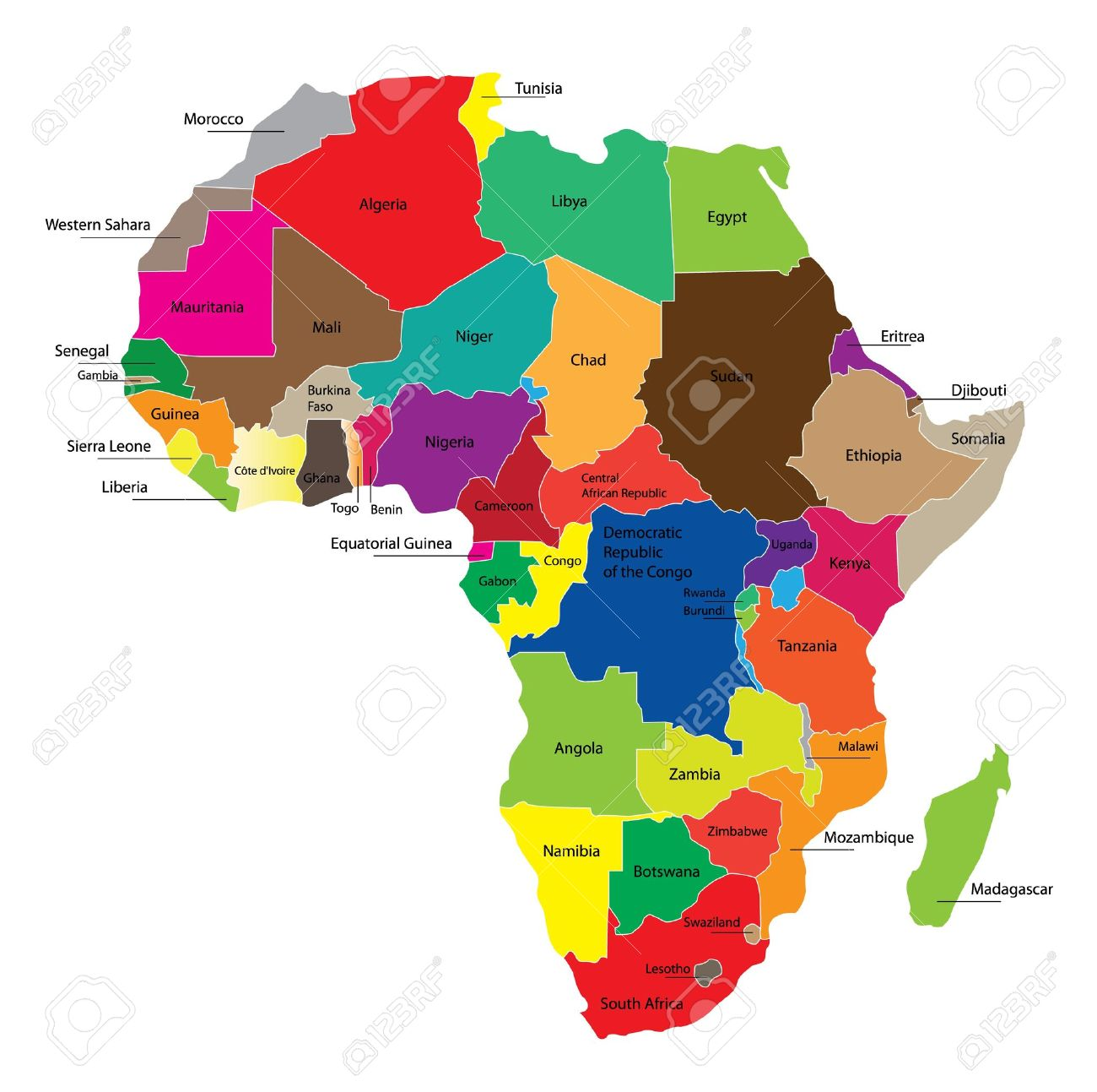 Detail color map of African continent with borders. Each state is colored to the various color and has wrote the name. - 9255646