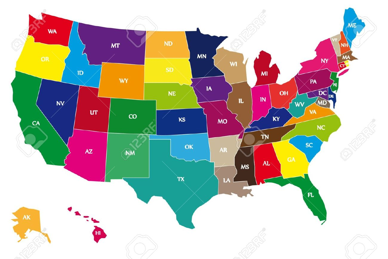 Detail Color Map Of USA With Name Of States Royalty Free Cliparts - Us map color